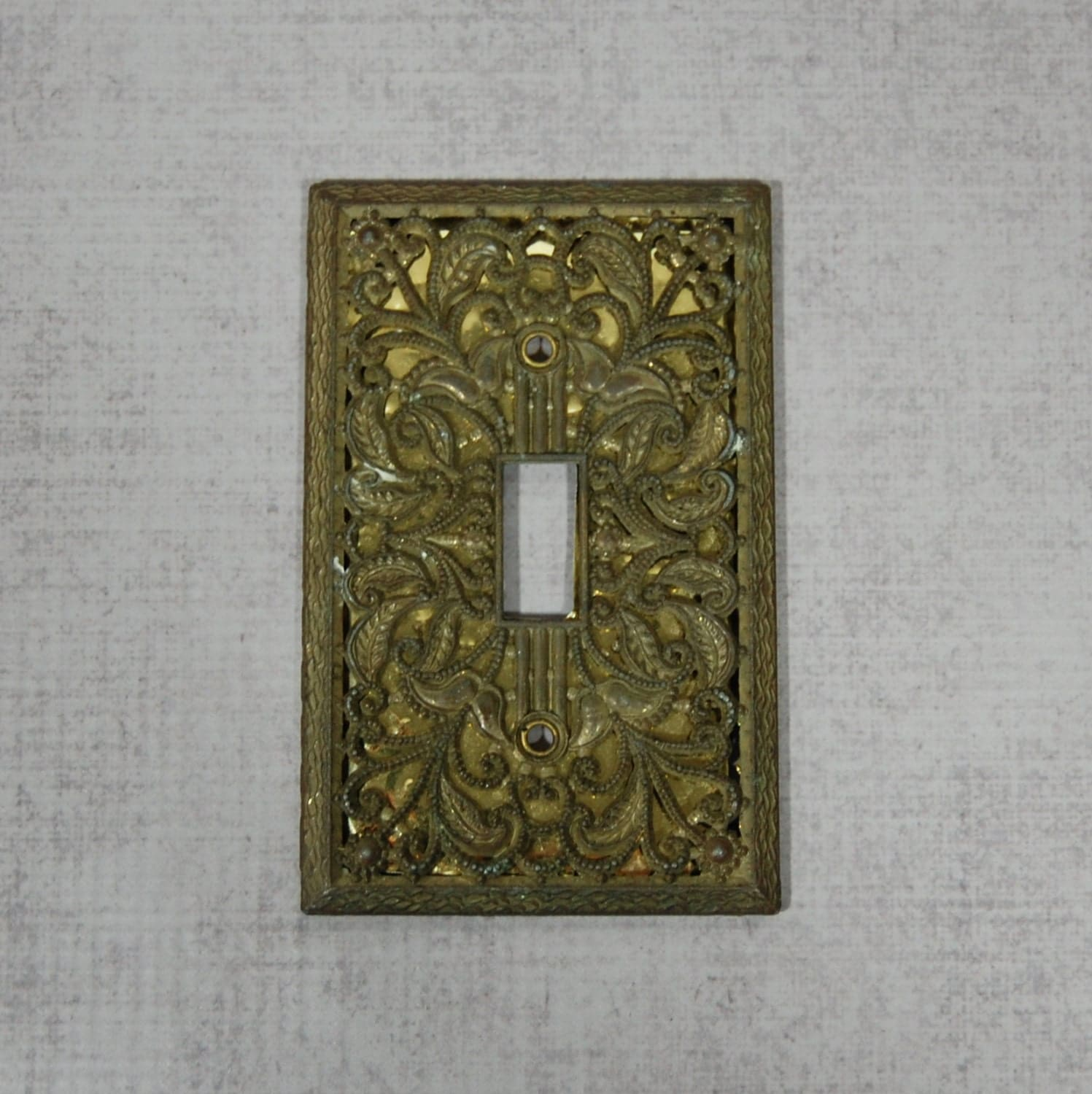 Decorative light switch cover plate aged brass patina cast for Unique light switch plates