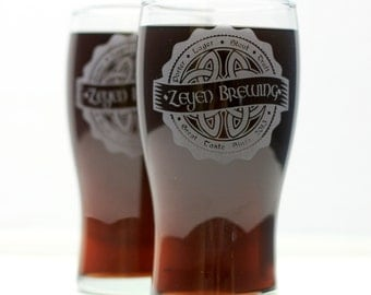 Personalized Irish Celtic Knot Brewing Label Set of 2 Home Brew glasses. personalized glass, logo art, brew art, Beer Glass, Beer Gift, Beer