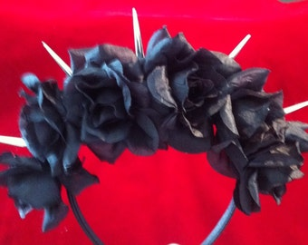 Black Rose Spiked Flower Crown Headband