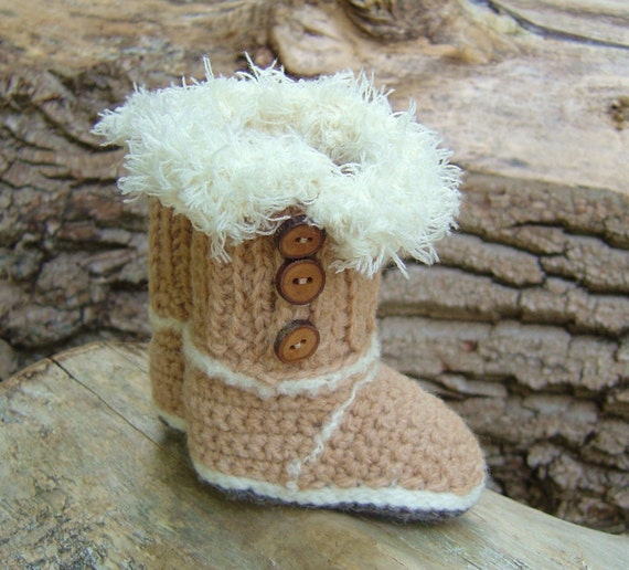 Thread Crochet Baby Booties Patterns : Crochet Pattern BABY UGG Booties Baby Snuggs by matildasmeadow