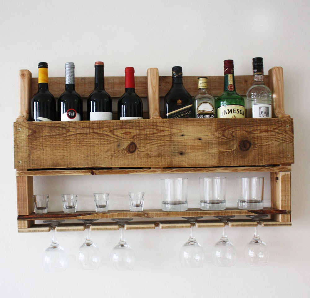 Wood Wine Bar ~ Wine rack wall mounted gifts wood