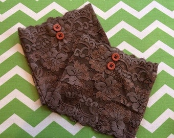 Chocolate Brown Lace Boot Cuffs