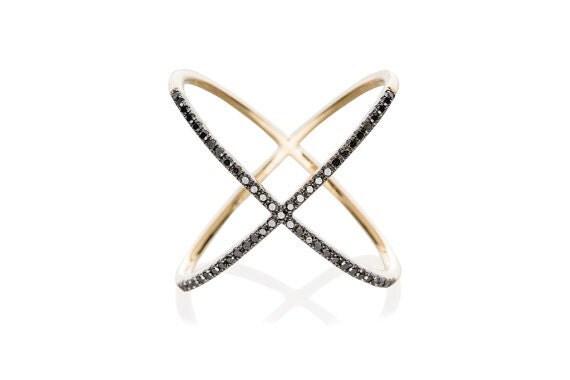 14K Pave X Ring Black Diamond X Ring Diamond Criss Cross