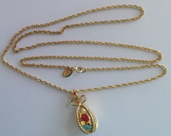 """NECKLACE - JOAN RIVERS Russian Faberge Style Egg Long Gold Chain Necklace Vintage Signed 30""""  Long WildRosesVintage Free Shipping"""