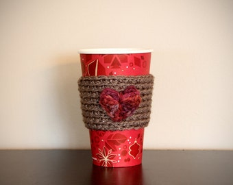 Heart Valentine Warm Cup Cozy for Tea or Coffee Brown