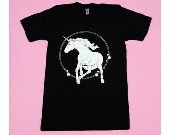 Majestic Unicorn White on Black Discharge Screenprinted Tshirt
