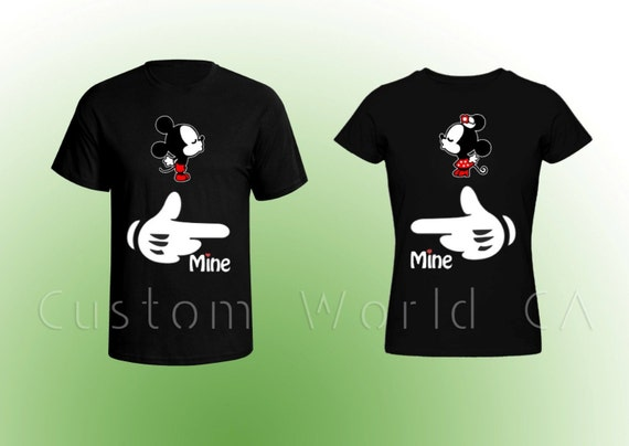 Dessin anim inspir couple t shirt mickey mains par for Best couple t shirt design