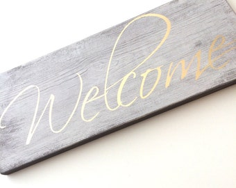 Welcome sign, wedding sign, gold wedding sign