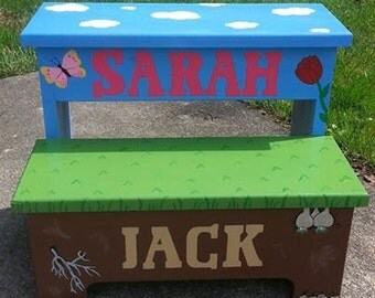Custom handmade painted two step stool childs step stool personalized toddler stool double & Childrens step stool boys stool girls stool hand painted islam-shia.org