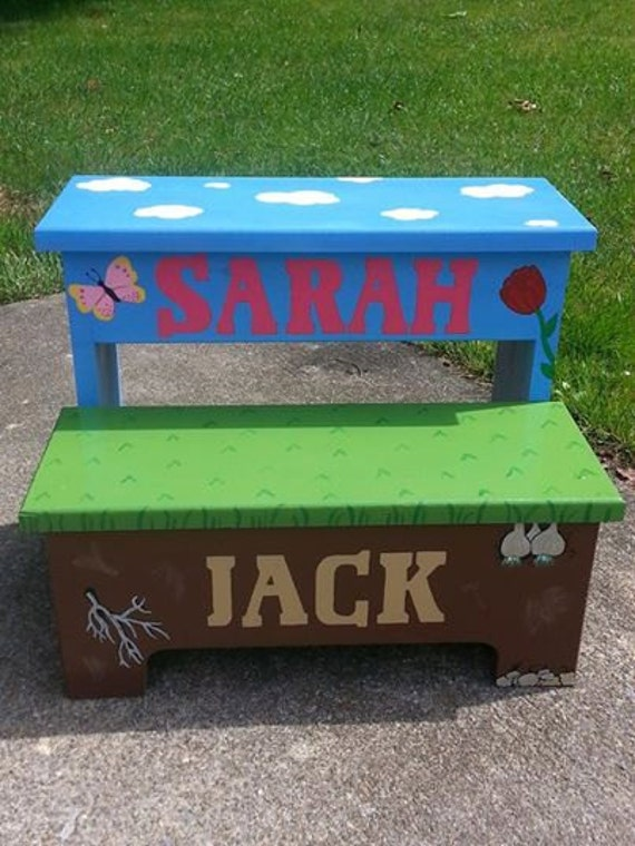 Custom handmade painted two step stool, childs step stool, personalized toddler stool, double step stool, kids foot stool, child foot stool