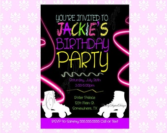 PRINTED or PRINTABLE Neon Roller Skating Birthday Invitation. Glow Party Invitation.  Neon Invite  Printable Invitations. PDF.