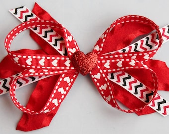 Valentine Hair Bow- Boutique Stacked Hair Bow Hair Clip