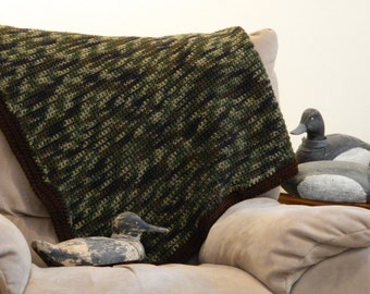 Camo Blanket - Crochet - 4' x 5' - Also Available in Pink Camo