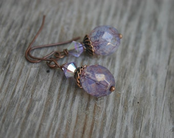Lavender and Copper Dangle Earrings, Lavender Glass Earrings, Czech Glass Earrings, Glass and Copper Earrings