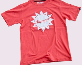 SALE ITEM! Mens T-Shirt by BURA Clothing. Taiwan Flag. Red. 100% Cotton.