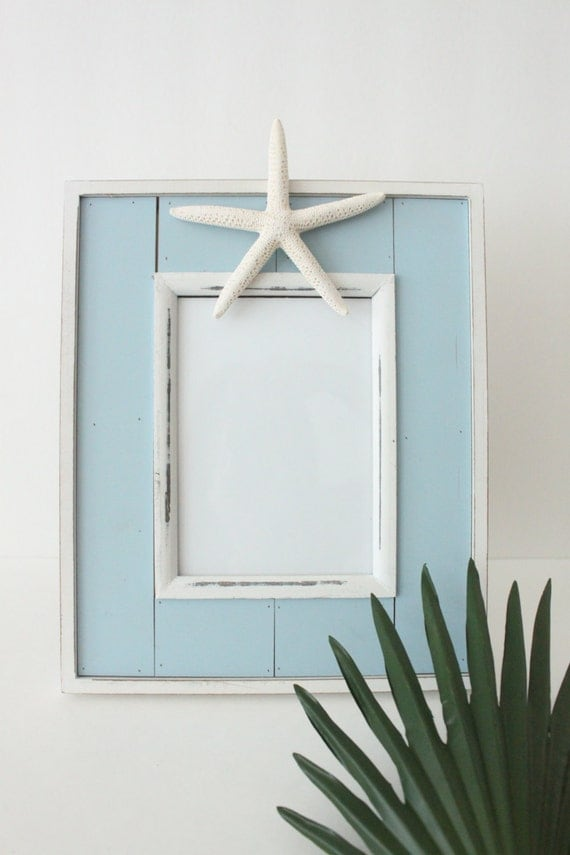 Distressed Blue Photo Frame with Starfish