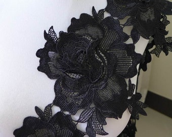Roses trim, black venice lace trim, black roses applique, rose large flower, one meter