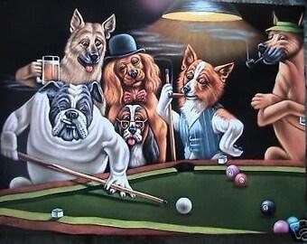Dogs playing pool black velvet oil painting handpainted signed art