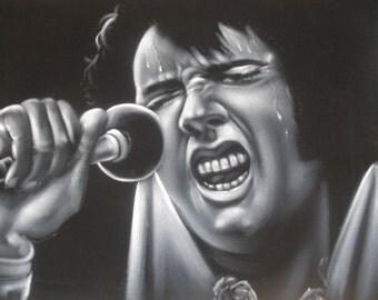 Elvis Presley The king  black velvet original oil painting handpainted signed art