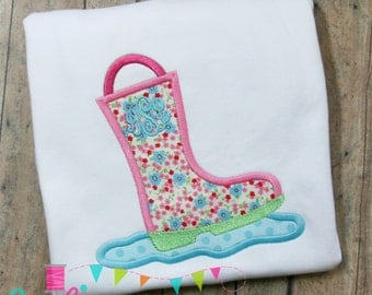 Rain Boot 2 Applique Design