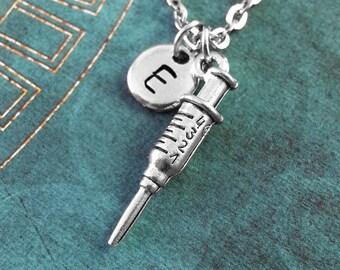 Syringe Necklace, SMALL Personalized Syringe Pendant, Nurse Jewelry, Syringe Charm Necklace, Medical Student Gift Doctor Gift Nurse Gift