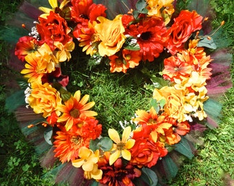 Cemetery Floral Heart Shaped Memorial Remembrance Wreath