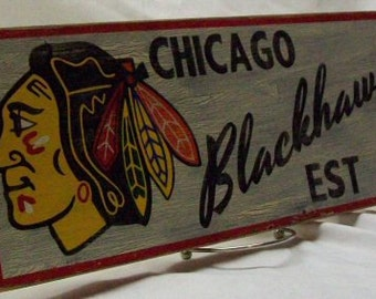 """Chicago Blackhawks wall sign, 6 1/2"""" x 17"""", distressed"""