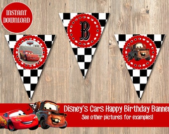 Disney's Cars Birthday Banner, Disney Banner, Cars Birthday Supplies, Cars Party Favor, Disney Cars, Disney Movie, Disney Birthday Banner