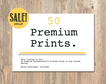 50 Professionally Printed Card Stock Invitations. Printed Cards. Premium Card Stock and Professional Printing for any 4MustardSeeds Design!