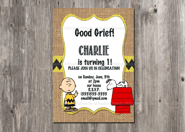 charlie brown birthday invitation snoopy rustic burlap