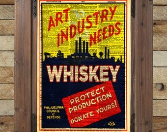 Art Industry needs Whiskey - vintage advertising poster - art deco wall art - Dictionary page print