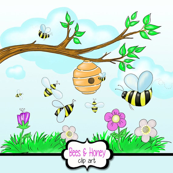Honey bee clipart with beehive flowers tree branch grass honey bee clipart with beehive flowers tree branch grass flowers clouds clipart summer and spring flowers clipart picnic clipart from mightylinksfo
