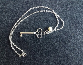 Antiqued Silver Skeleton Key Necklace with a Pearl