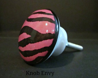 Set of 6~Hot Pink Zebra Print Knobs~More or less available