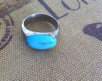 Size 11 3/4 Sterling Silver Blue Turquoise Ring 9.4 Grams