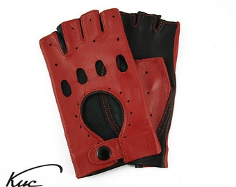 Fashionable black and red fingerless leather gloves, car driving gloves - italian lambskin leather