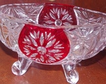 Adorable Small Crystal Candy Dish with Ruby Red Snow Flake Etched Design