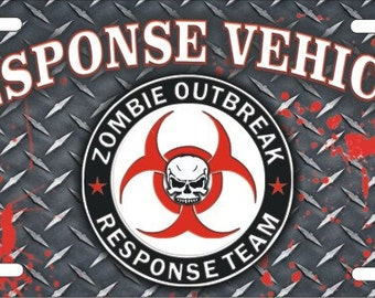 ZOMBIE outbreak response team vehicle Novelty front License Plate decorative aluminum Auto plate sign