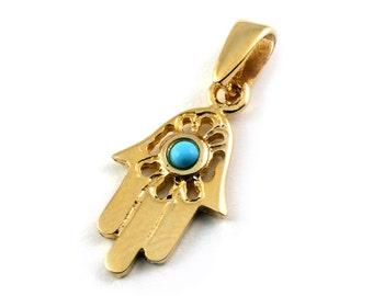 14k Gold Turquoise Hamsa Pendant