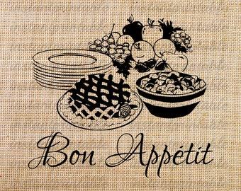 Kitchen clip art, download kitchen decor, bon appetit, decal, iron on transfer, kitchen clipart, kitchen printable -- item no 108