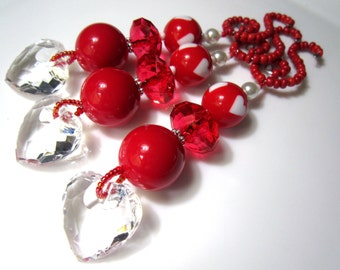 Red and White Heart Beaded Christmas Dangle Faceted Heart Ornaments - Set of 3 (PS30)