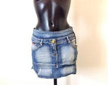VINTAGE MINI SKIRT, jeans mini skirt, short skirt, summer skirt, small size skirt, whimsy skirt, women jeans, clothing for women