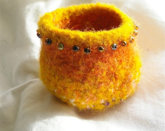 Gold and Orange Felted Beaded Bowl