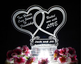 Double Heart Wedding Cake Topper - Light Up Cake Top -Acrylic Cake Topper - LED Cake Top - Custom Cake Top