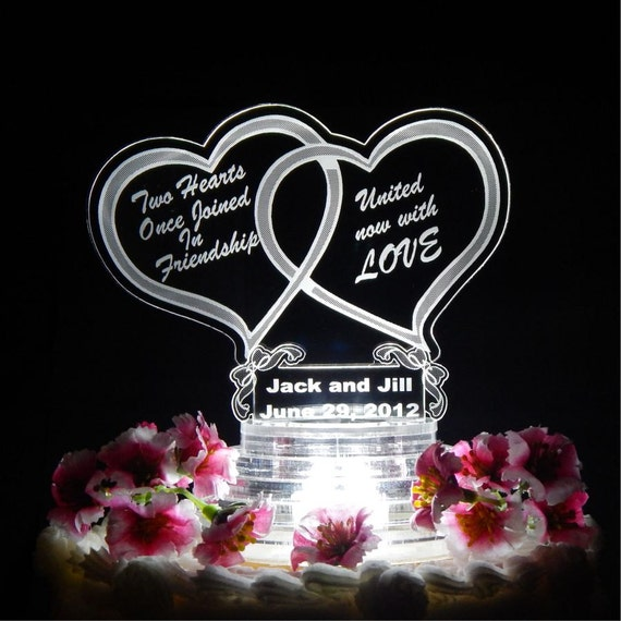 Personalized Lit Wedding Cake Top Topper Acrylic Double Heart