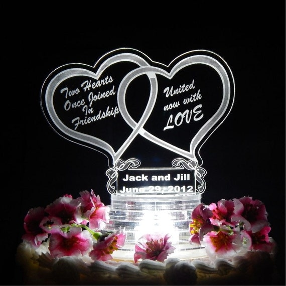 Double Heart Wedding Cake Topper Light Up Top Acrylic