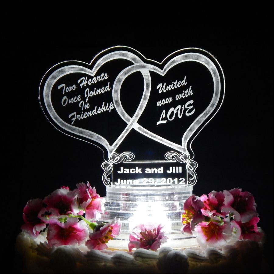 double heart wedding cake topper light up cake top acrylic