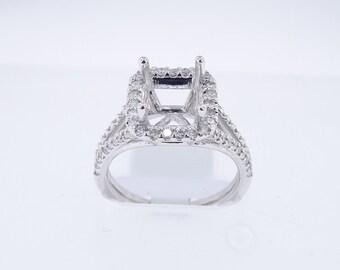 14K White Gold Diamond Halo Engagement Ring Wedding Ring Antique Ring Vintage Ring Yellow Gold Rose Gold Platinum 18K