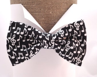 """Bow tie musical notes on black, pre tied or self tie bow tie, will fit neck size up to 20"""" (50cms)"""