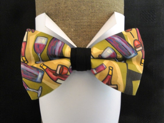 Bottles and Wine Glasses Print Bow Tie, pre tied, bow ties for men